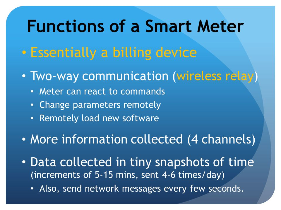 Functions of a Smart Meter