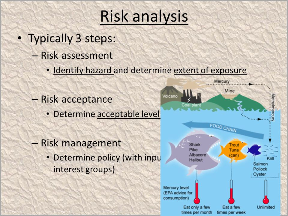 Risk analysis Typically 3 steps: Risk assessment Risk acceptance