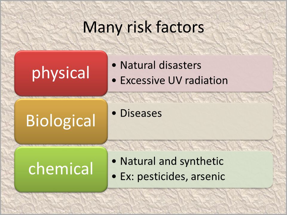 physical Biological chemical Many risk factors Natural disasters
