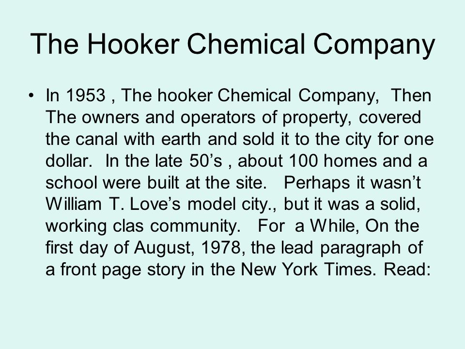The Hooker Chemical Company
