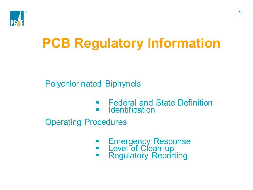 PCB Regulatory Information