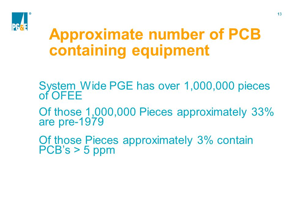 Approximate number of PCB containing equipment