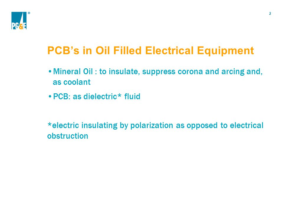 PCB's in Oil Filled Electrical Equipment