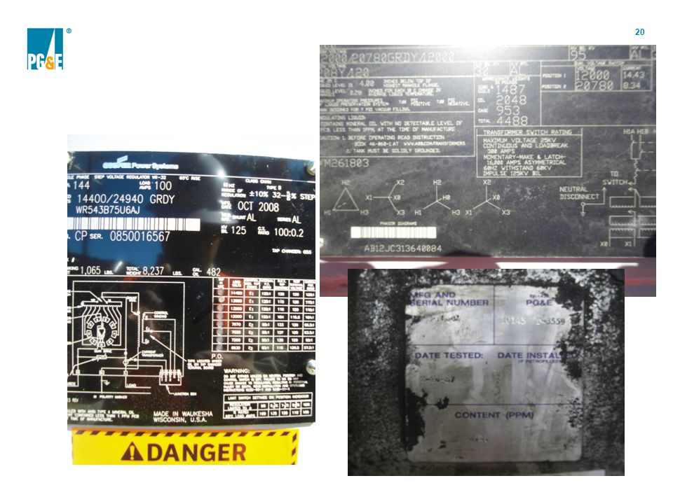 The equipment tag is also a source of PCB level: some will clearly show that the equipment has no PCB at time of manufacture. In cases where this statement is not present, we use the equipment nameplate: manufacturer, serial number and date of manufacture, to 'determine' the level of PCB by cross-referencing the info on a table.