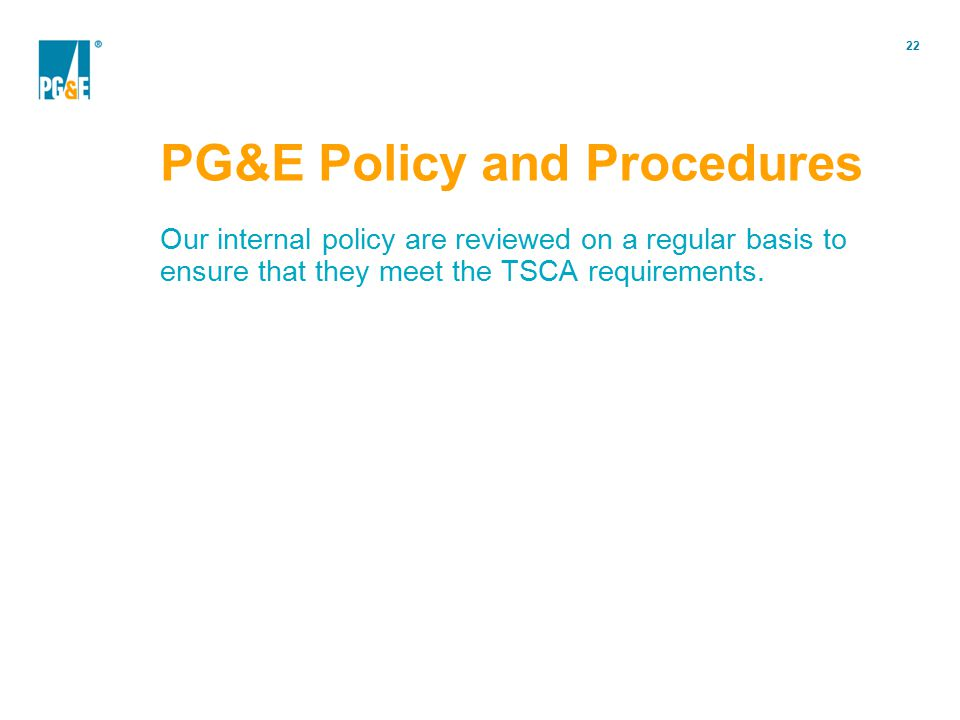 PG&E Policy and Procedures