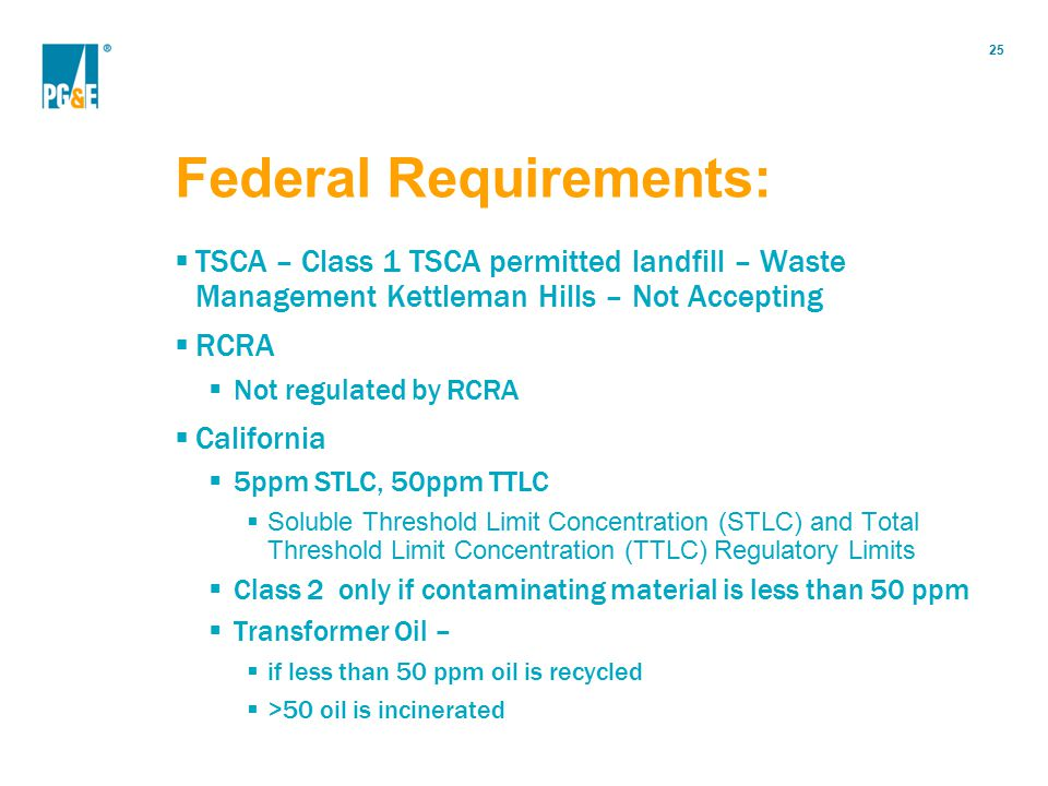 Federal Requirements: