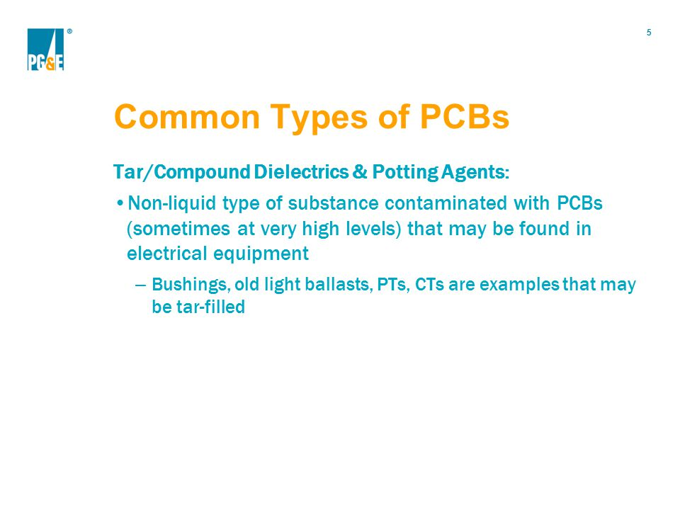 Common Types of PCBs Tar/Compound Dielectrics & Potting Agents:
