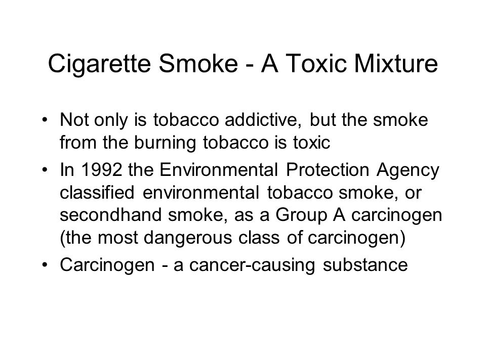 Cigarette Smoke - A Toxic Mixture