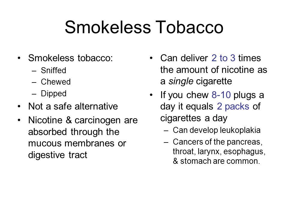 Smokeless Tobacco Smokeless tobacco: Not a safe alternative
