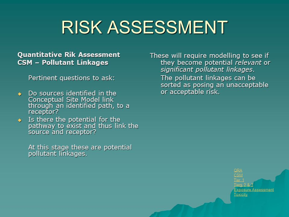 RISK ASSESSMENT Quantitative Rik Assessment CSM – Pollutant Linkages