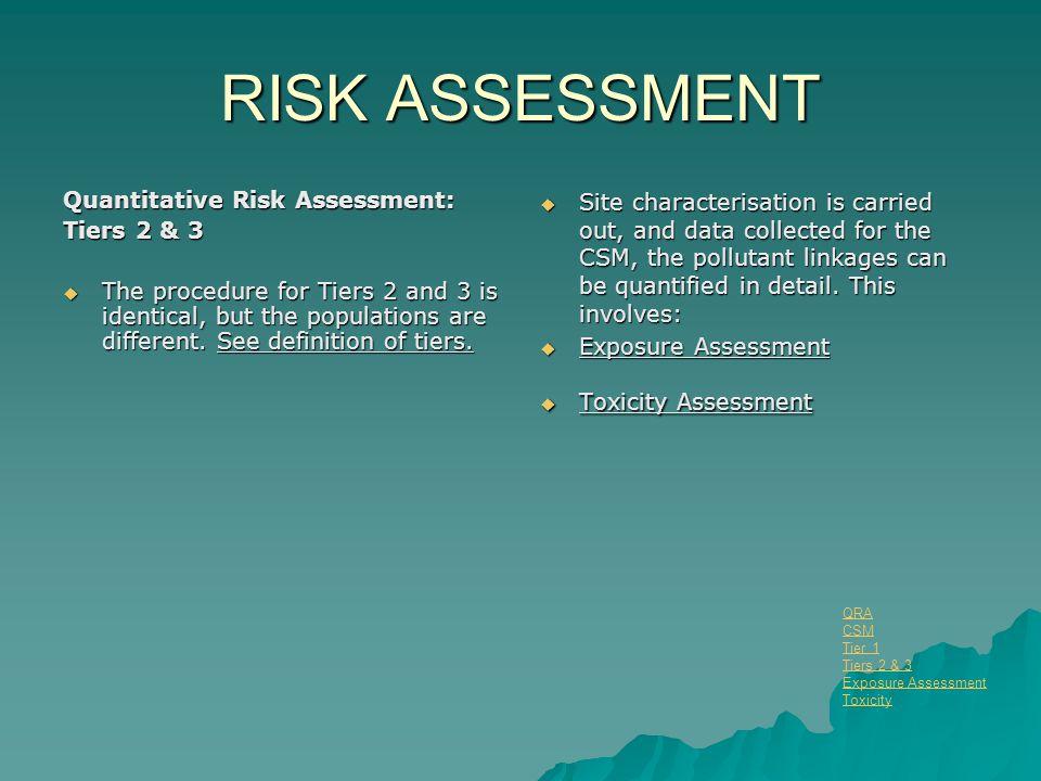 RISK ASSESSMENT Quantitative Risk Assessment: Tiers 2 & 3