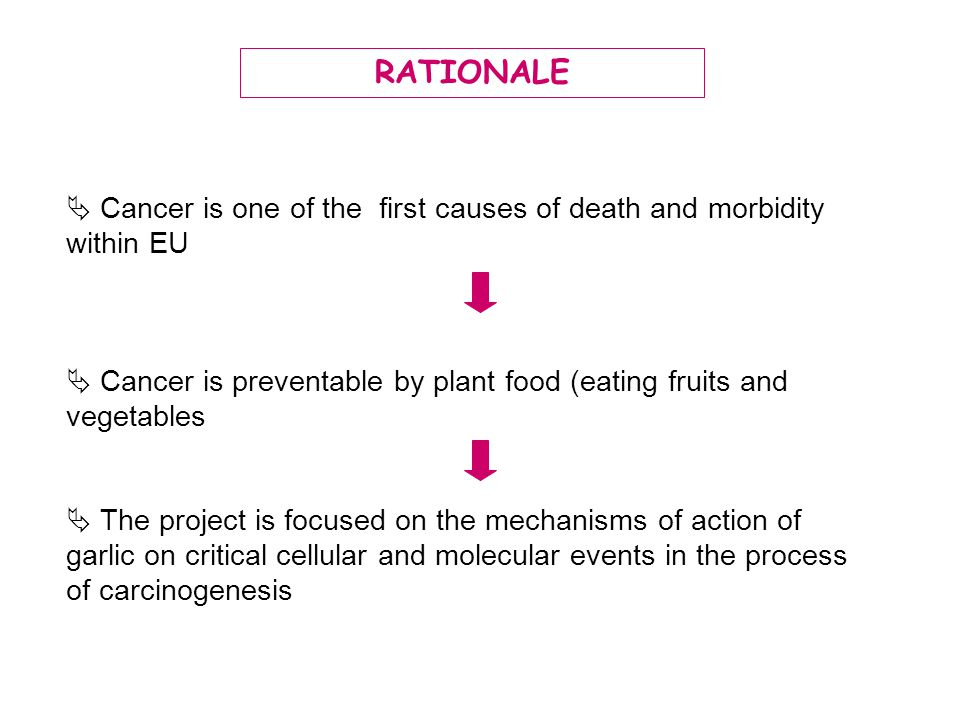 RATIONALE  Cancer is one of the first causes of death and morbidity within EU.  Cancer is preventable by plant food (eating fruits and vegetables.