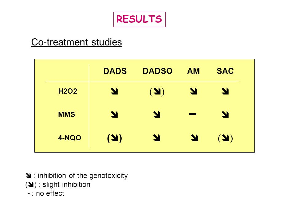 RESULTS Co-treatment studies  () DADS DADSO SAC AM H2O2 MMS 4-NQO