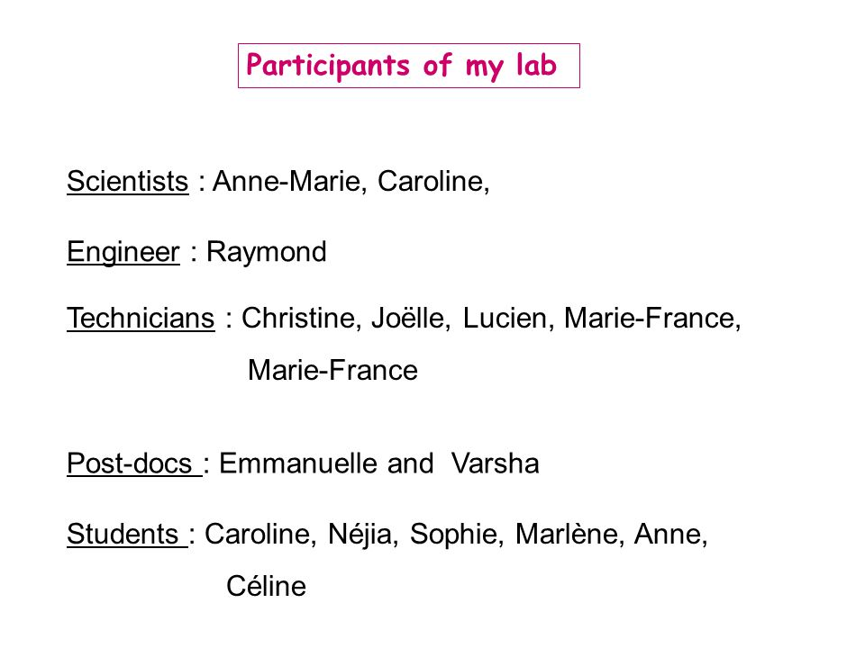 Participants of my lab Scientists : Anne-Marie, Caroline, Engineer : Raymond. Technicians : Christine, Joëlle, Lucien, Marie-France,