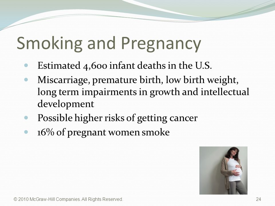 Smoking and Pregnancy Estimated 4,600 infant deaths in the U.S.