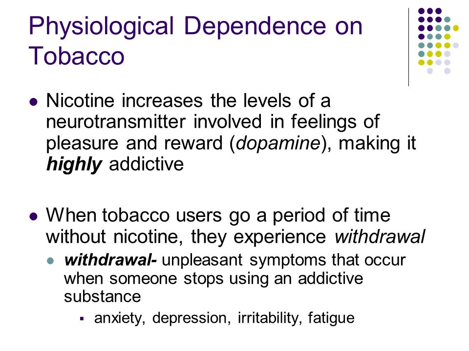 Physiological Dependence on Tobacco