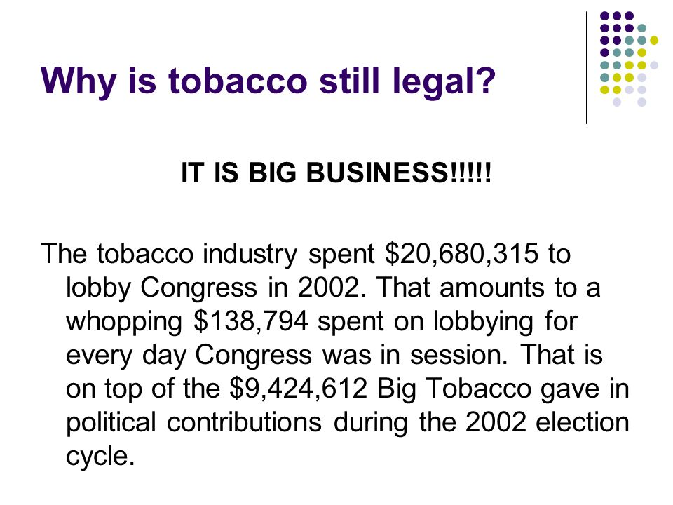 Why is tobacco still legal