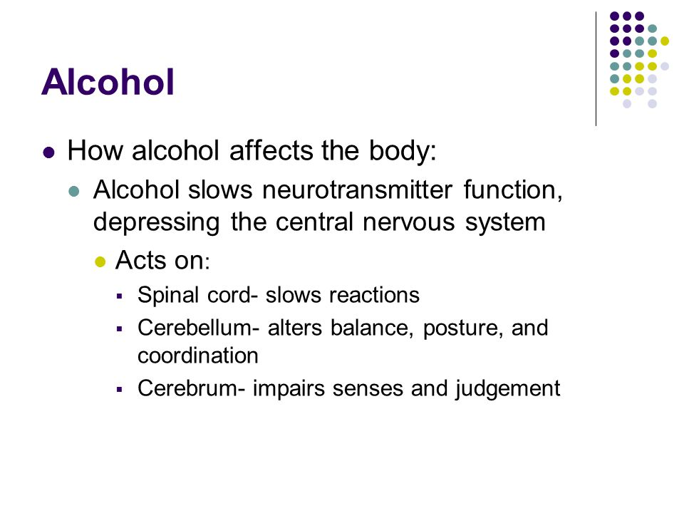 Alcohol How alcohol affects the body: