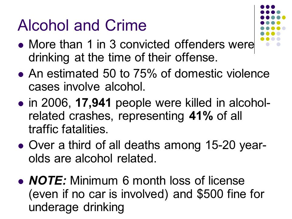 Alcohol and Crime More than 1 in 3 convicted offenders were drinking at the time of their offense.
