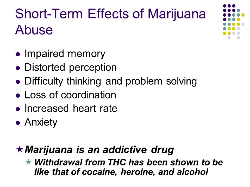 Short-Term Effects of Marijuana Abuse