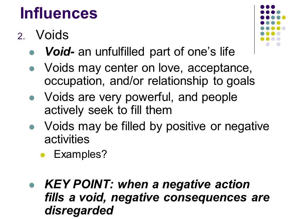 Influences Voids Void- an unfulfilled part of one's life