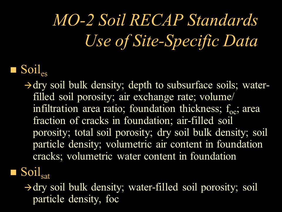 MO-2 Soil RECAP Standards Use of Site-Specific Data