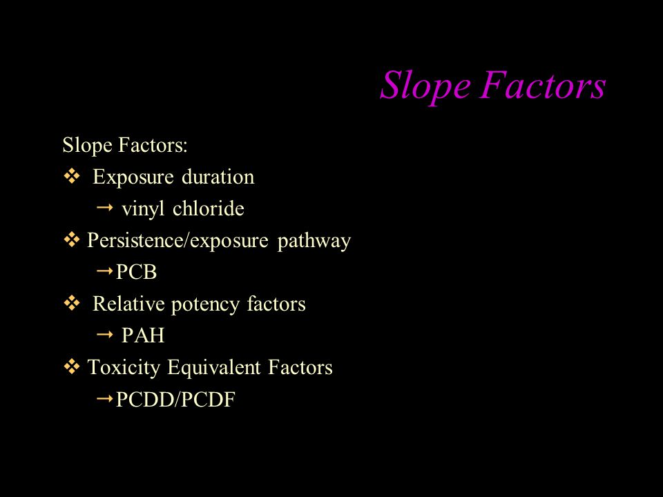 Slope Factors Slope Factors: Exposure duration vinyl chloride