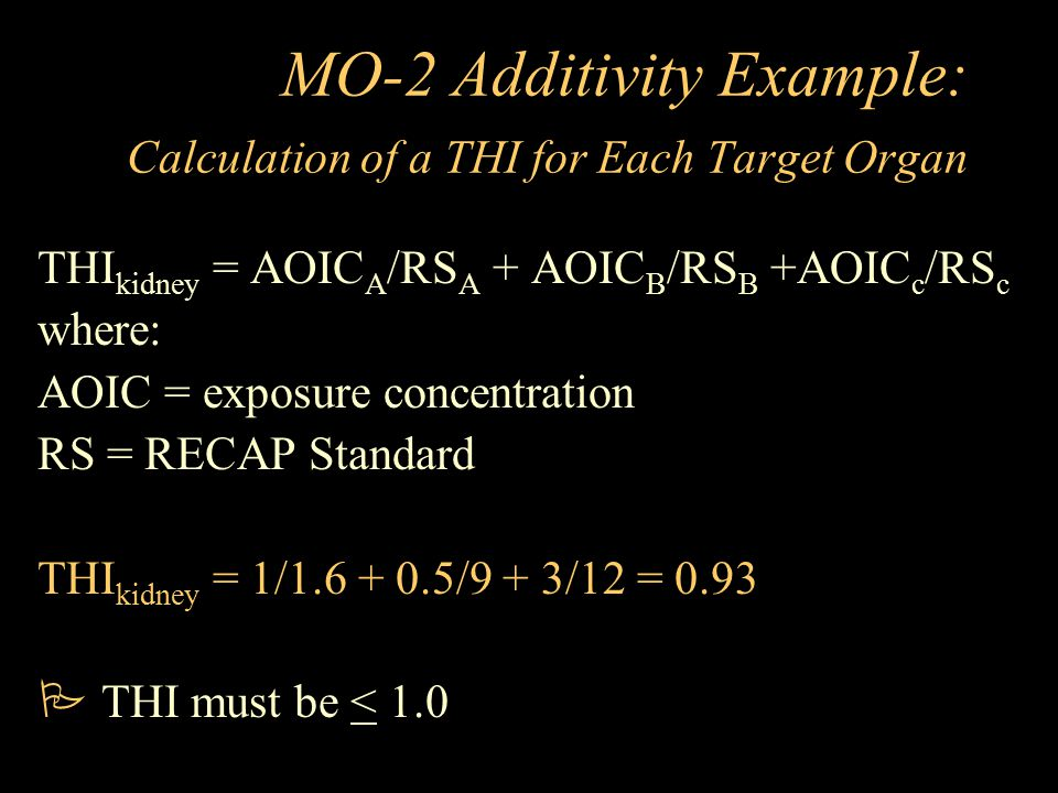 MO-2 Additivity Example: Calculation of a THI for Each Target Organ