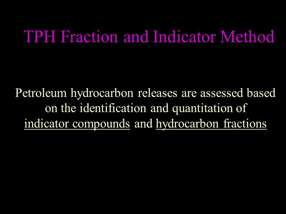 TPH Fraction and Indicator Method