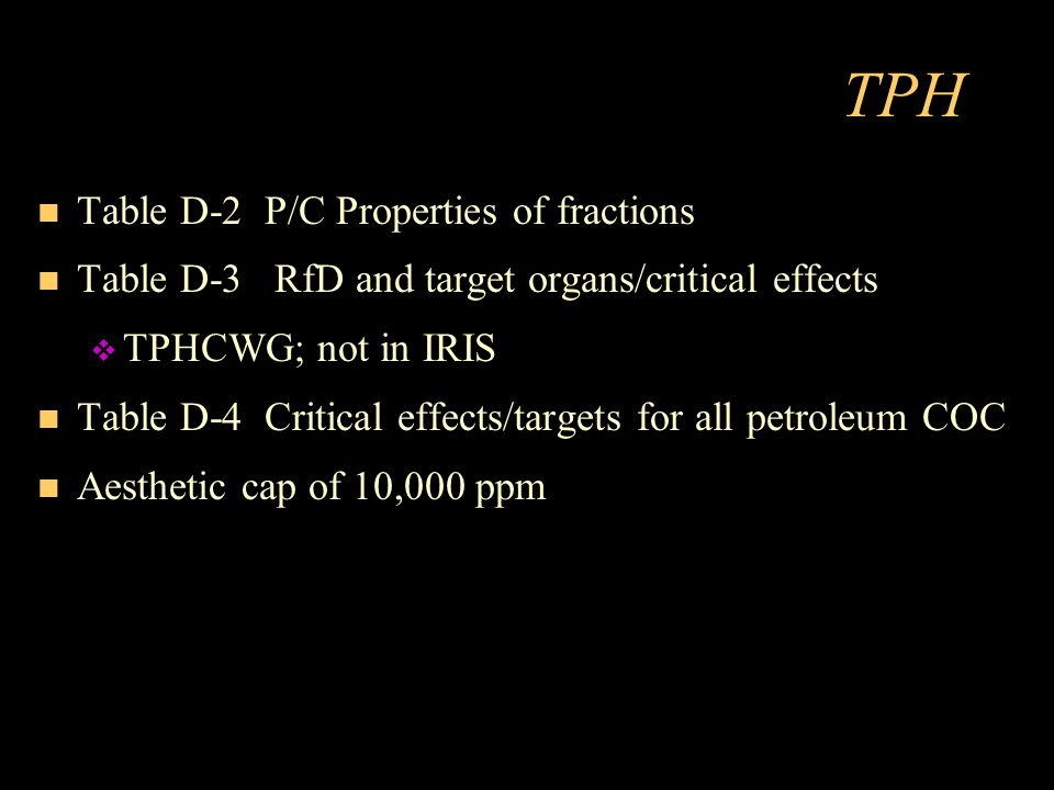 TPH Table D-2 P/C Properties of fractions