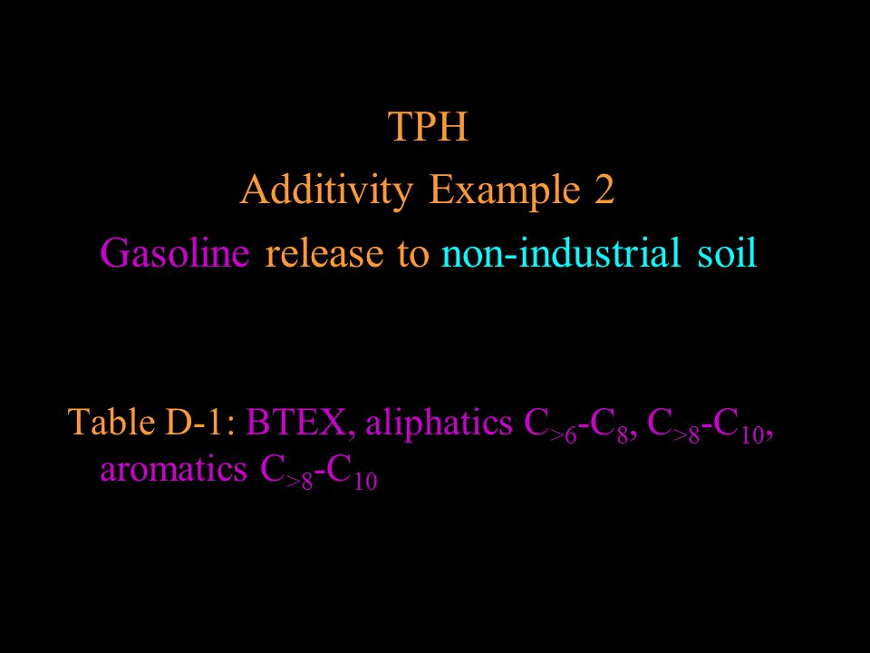 Gasoline release to non-industrial soil