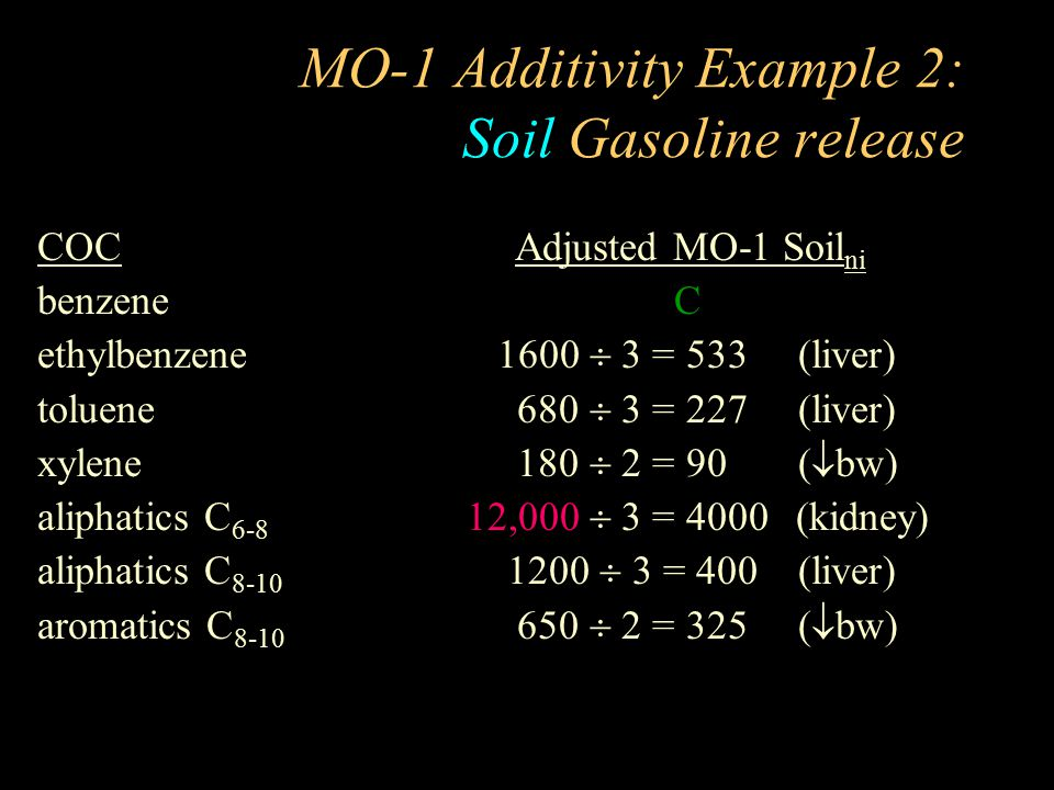 MO-1 Additivity Example 2: Soil Gasoline release