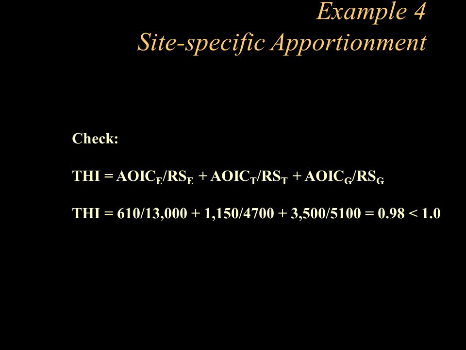 Example 4 Site-specific Apportionment