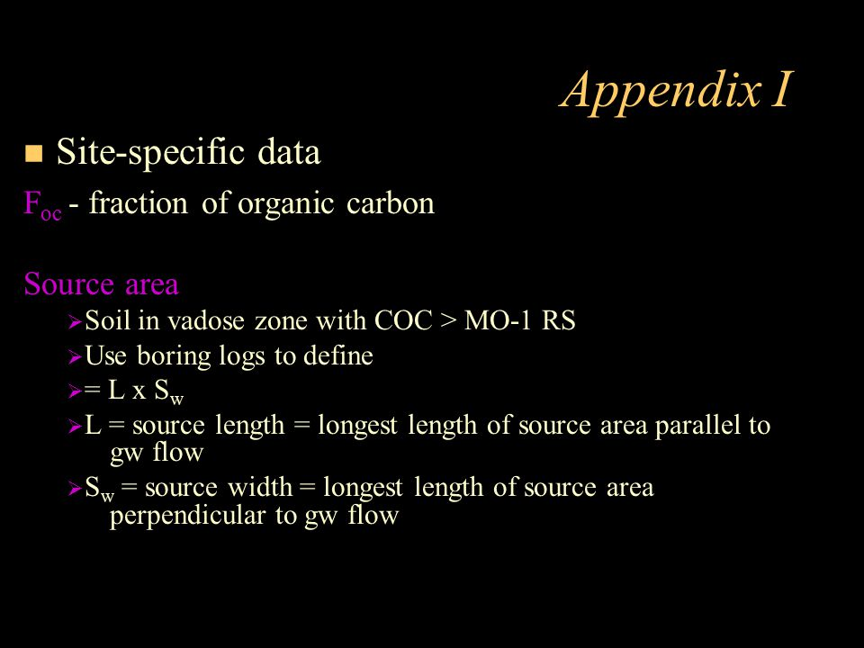Appendix I Site-specific data Foc - fraction of organic carbon