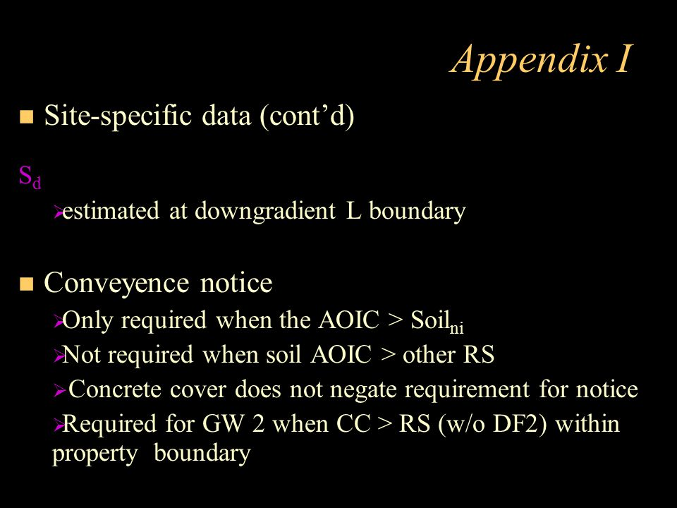 Appendix I Site-specific data (cont'd) Conveyence notice Sd