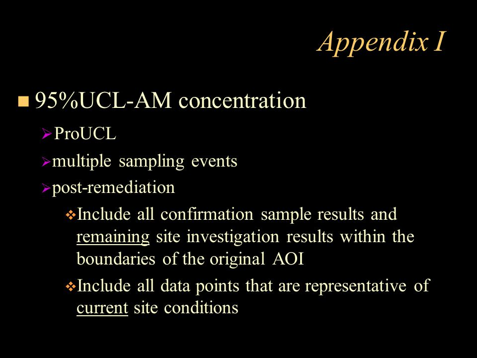 Appendix I 95%UCL-AM concentration ProUCL multiple sampling events