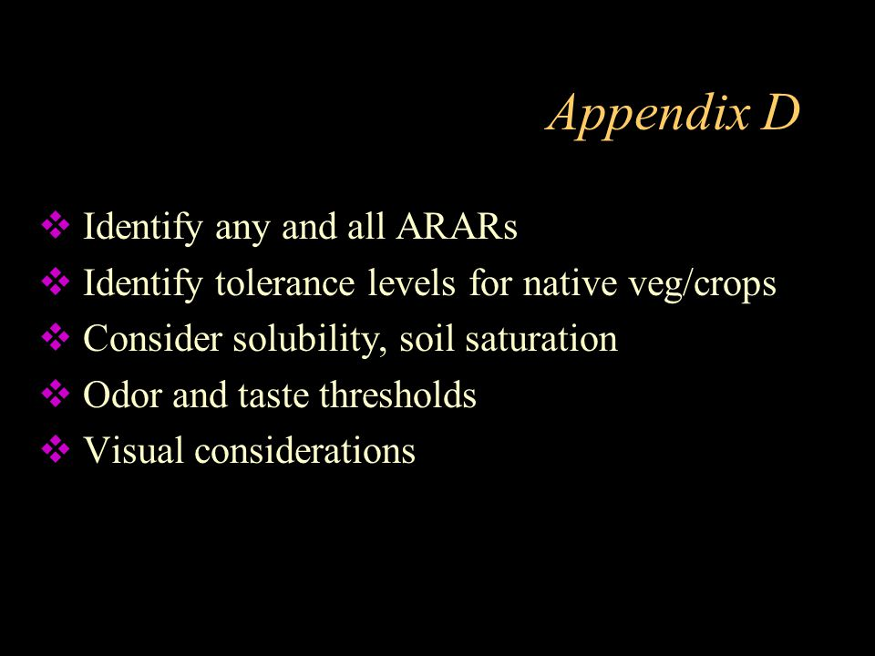 Appendix D Identify any and all ARARs