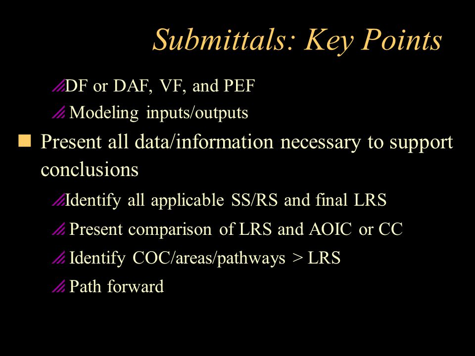 Submittals: Key Points