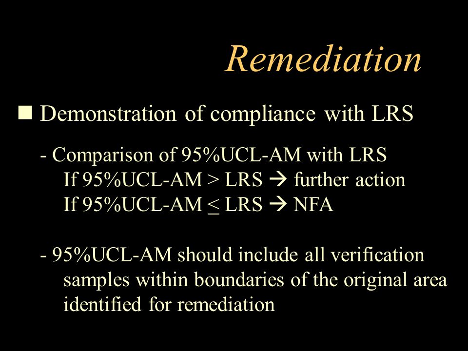 Remediation Demonstration of compliance with LRS