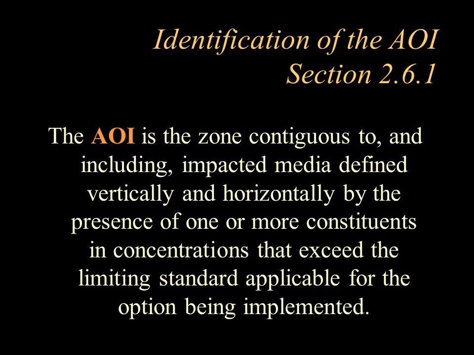 Identification of the AOI Section 2.6.1