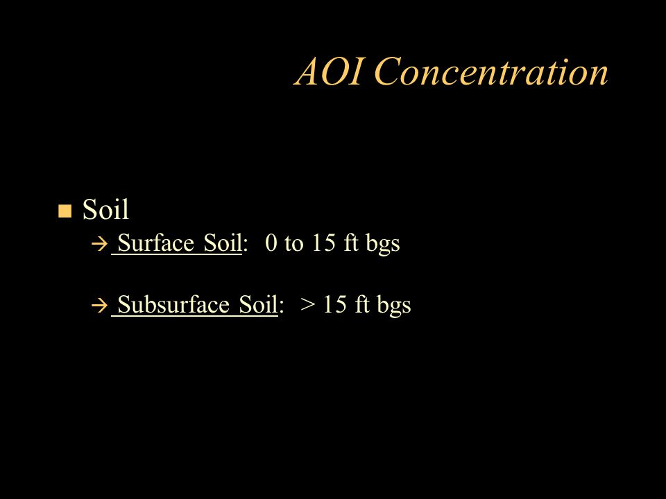 AOI Concentration Soil Surface Soil: 0 to 15 ft bgs