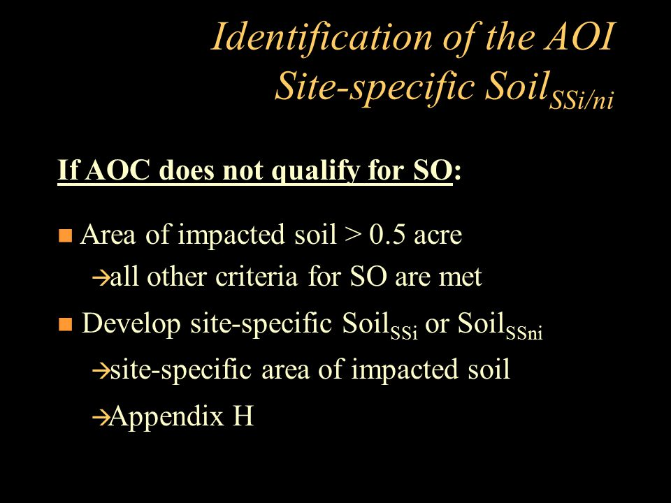 Identification of the AOI Site-specific SoilSSi/ni