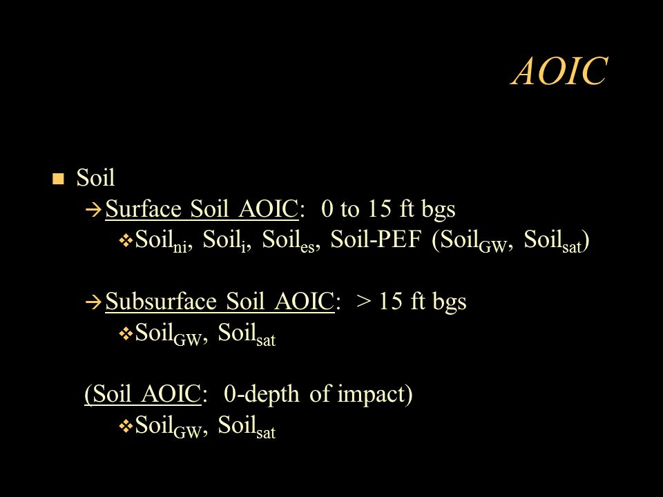 AOIC Soil Surface Soil AOIC: 0 to 15 ft bgs