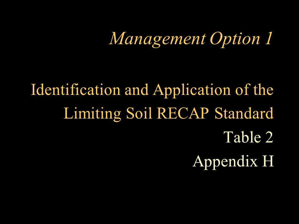 Management Option 1 Identification and Application of the