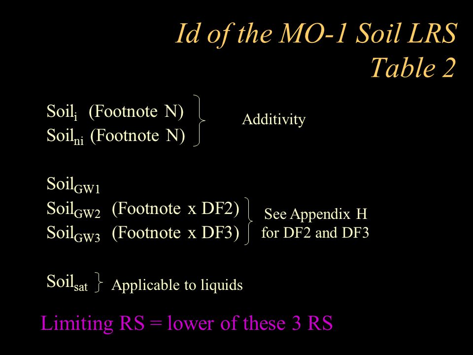 Id of the MO-1 Soil LRS Table 2