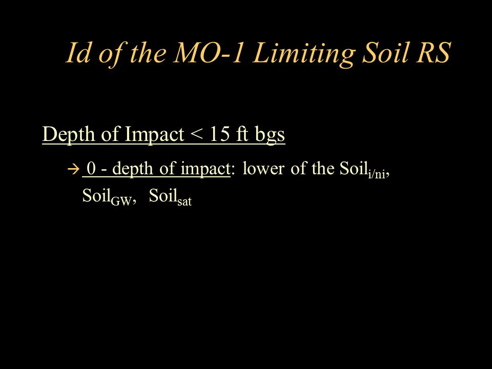 Id of the MO-1 Limiting Soil RS