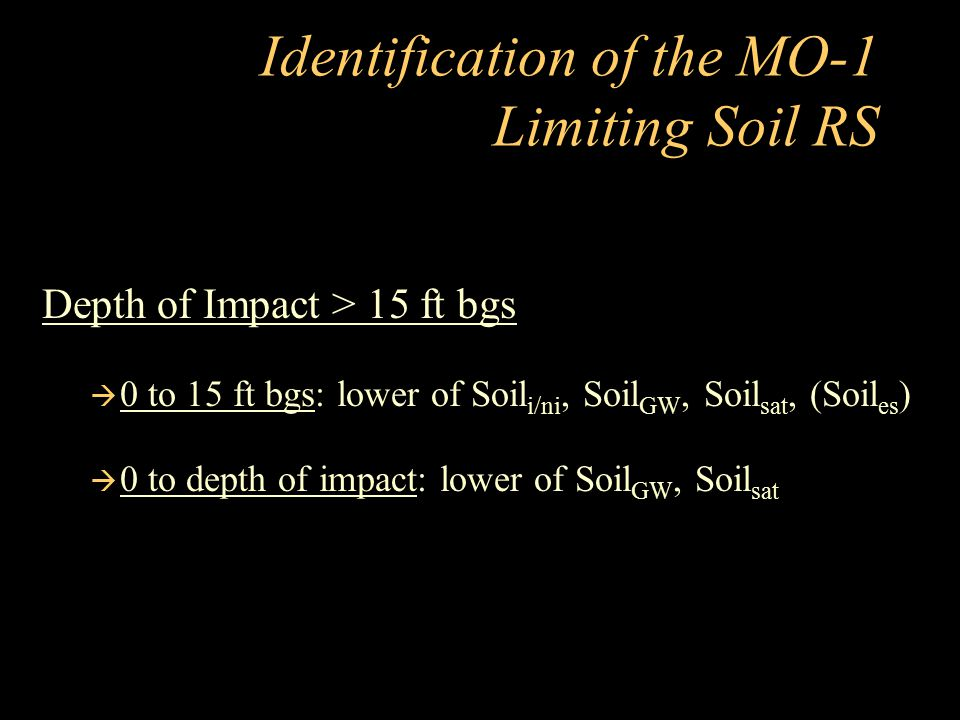 Identification of the MO-1 Limiting Soil RS