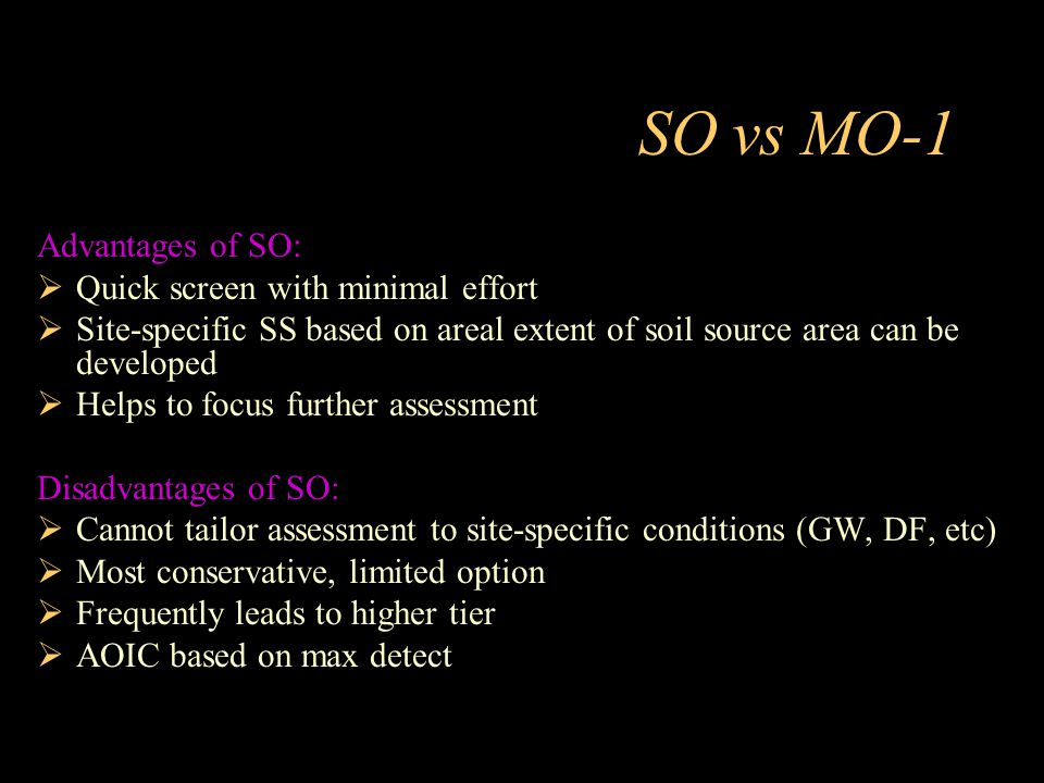 SO vs MO-1 Advantages of SO: Quick screen with minimal effort