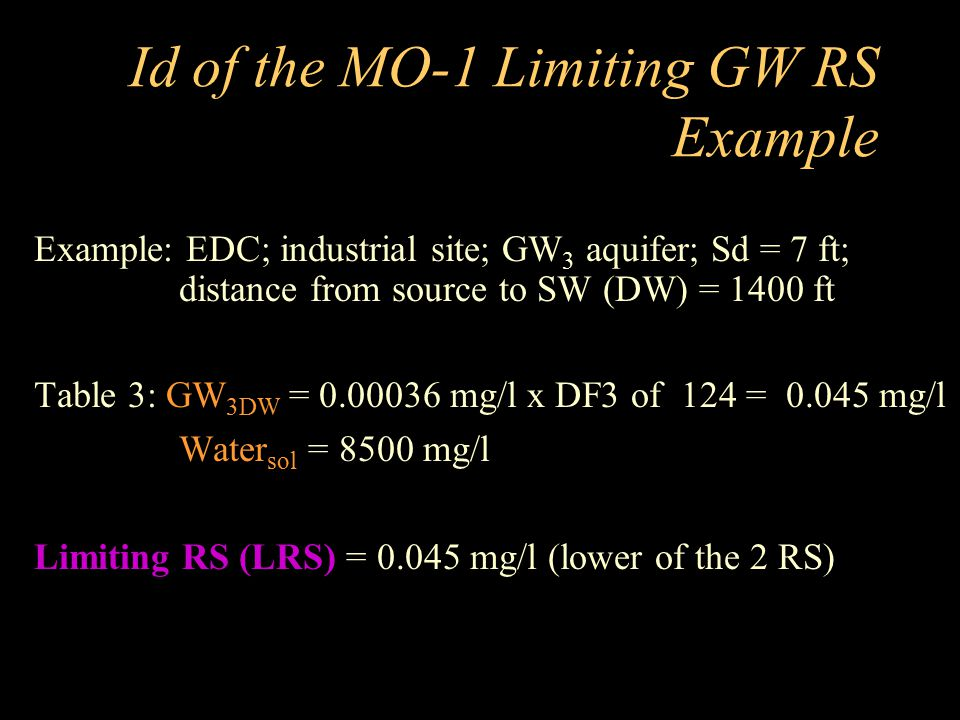 Id of the MO-1 Limiting GW RS Example