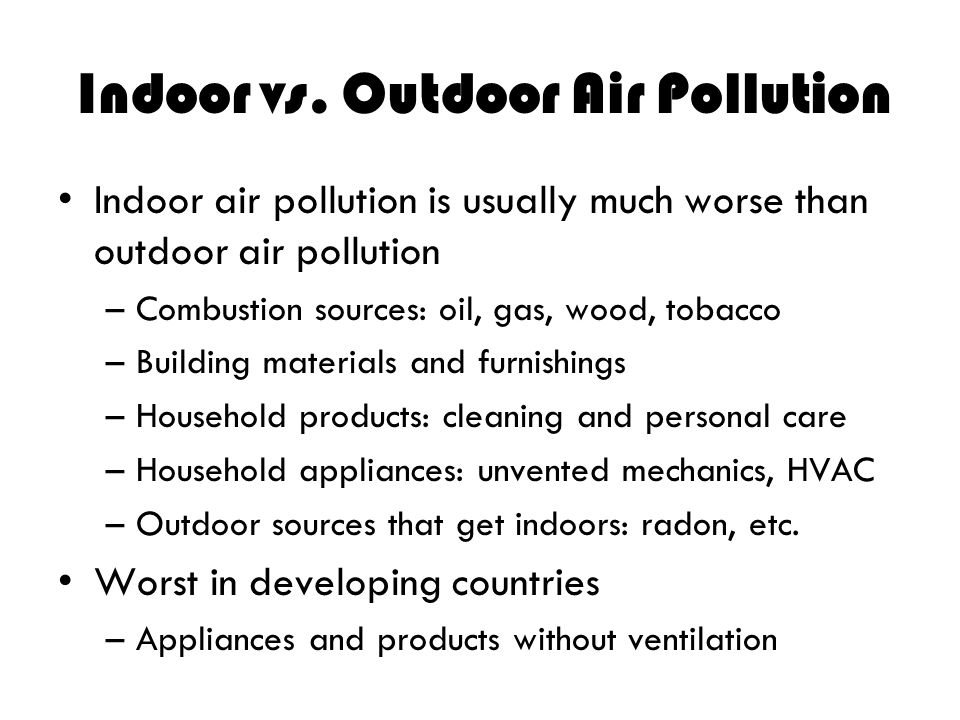 Indoor vs. Outdoor Air Pollution